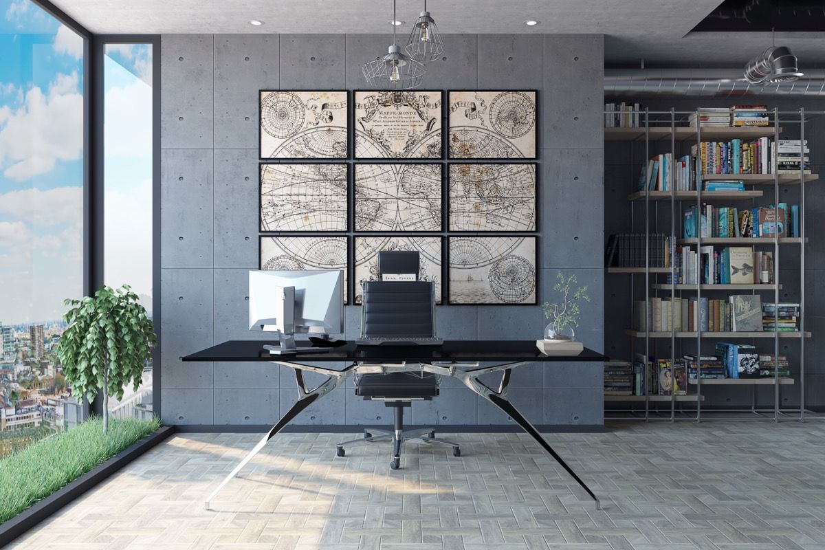 33 Inspiring Industrial Style Home Offices That Sport Beautiful Workspaces Office Interior Design Industrial Home Offices Industrial Office Design