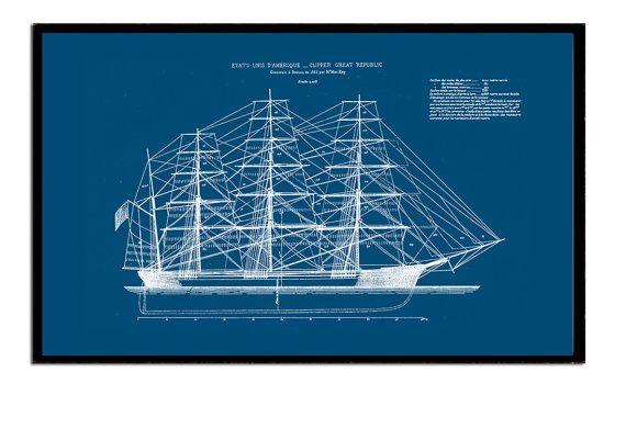 A3 95 x 115 inches ships blueprint of an by empressionista items similar to size inches x inches ships blueprint of an american clipper dated 1853 coastal sailing wall art on etsy malvernweather Gallery