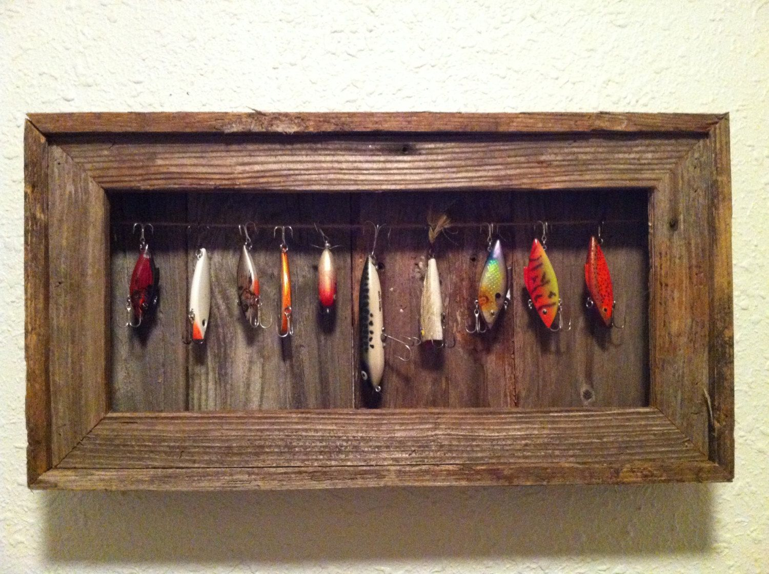 Fishing lure display case by arustictouch on etsy for Fishing lure decor