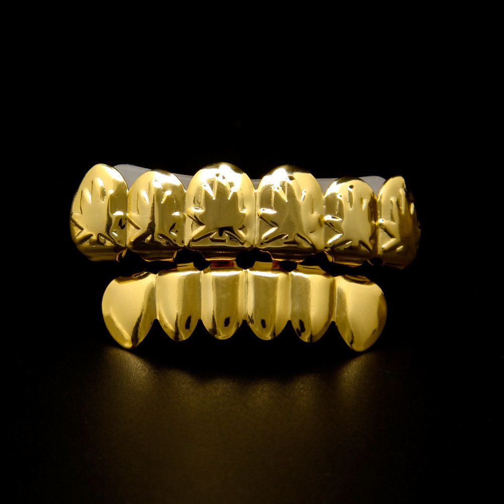 Gold Plated Teeth Maple Leaf Top   Bottom Mouth Grillz Ca…  879f195dcf