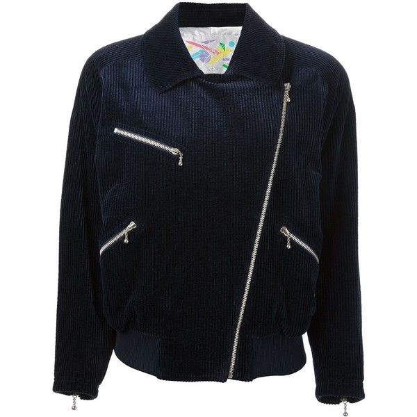 Courrèges Vintage Corduroy Bomber Jacket (4.280 NOK) ❤ liked on Polyvore featuring outerwear, jackets, blue, blue corduroy jacket, collar jacket, blue bomber jacket, blue jackets and black flight jacket