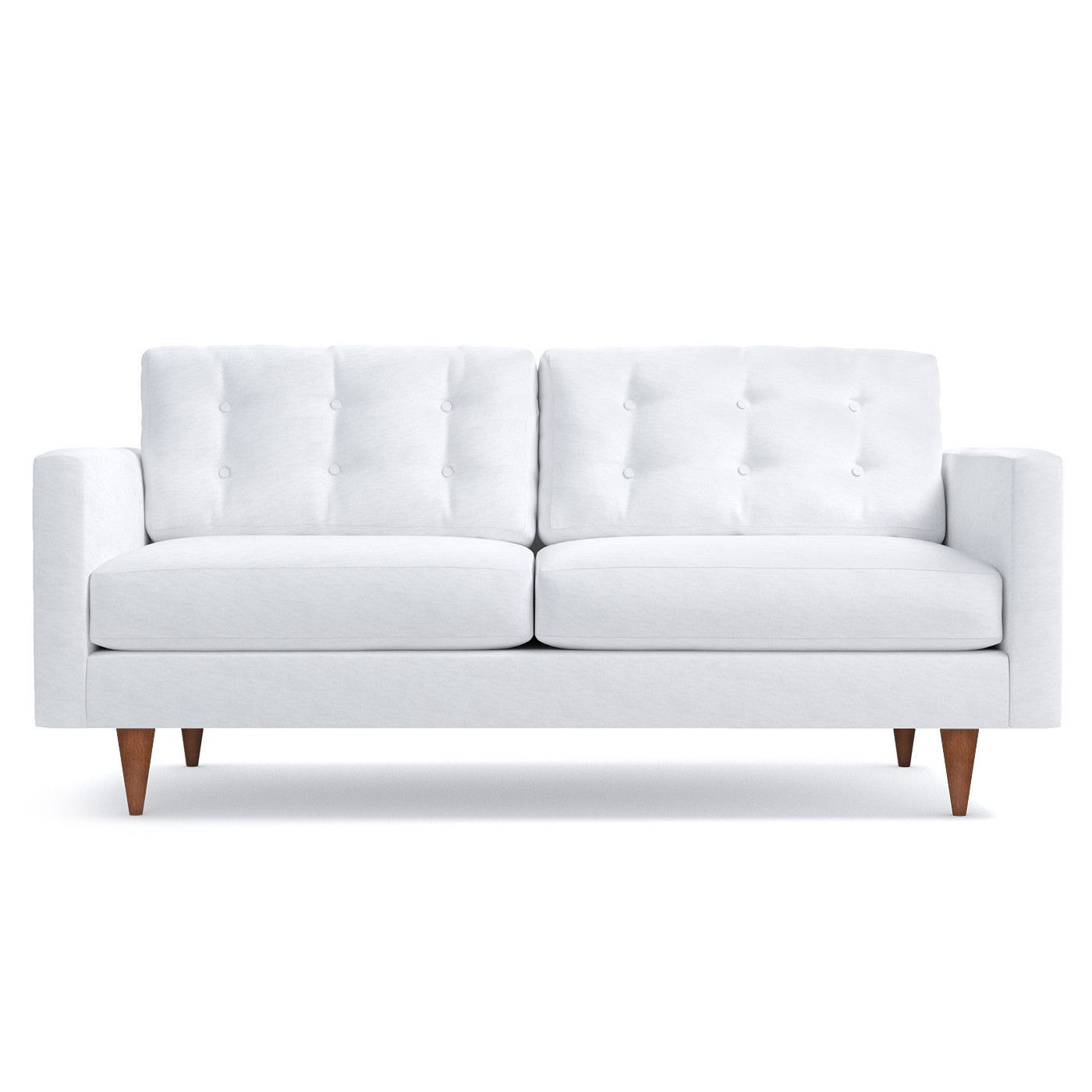 Logan Sofa Leg Finish Pecan Apartment Size Sofa White Sofas