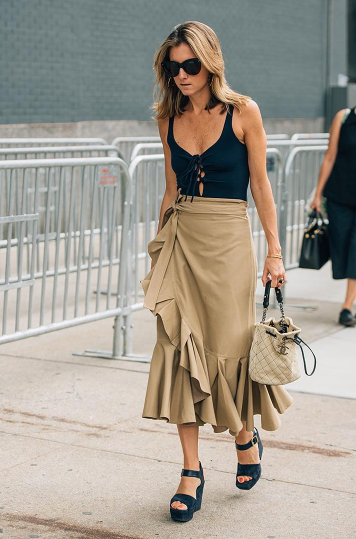 Flamenco ruffles cast in neutral shades we salute you, and is that a swimsuit worn as a top we spy? Either way, this outfit is a masterpiece. Catch Tommy Ton as he posts live from #NYFW on our Instagram stories. #styledotTon