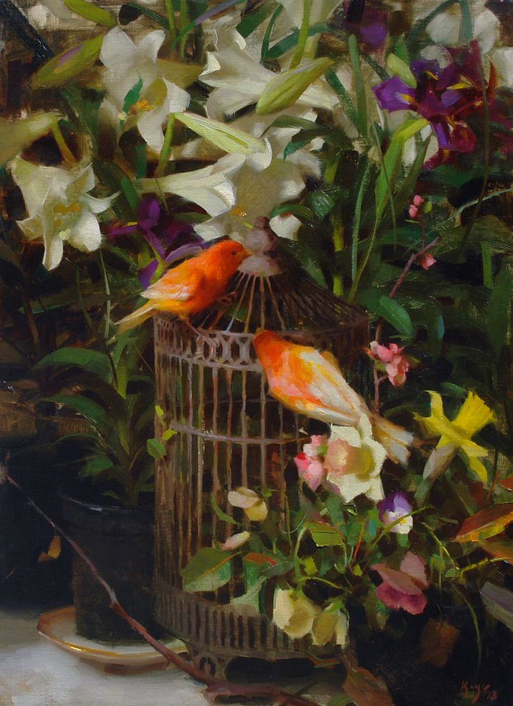 ♞ Artful Animals ♞ bird, dog, cat, fish, bunny and animal paintings - Daniel Keys | Canaries and Lilies