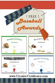 free printable baseball awards and certificates tball pinterest