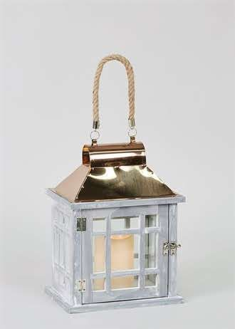 Copper effect top wooden led lantern 23cm x 20cm x 16cm matalan