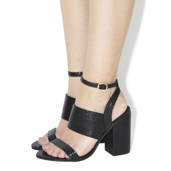 Office Time 3 Strap Block Heel Sandals