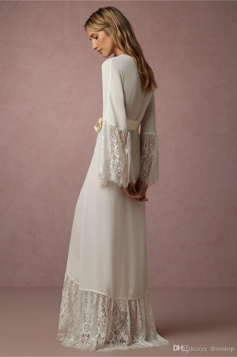 12ef87469c Elegant Long Sleeves Cheap Bridesmaid And Bride Robes Custom Made Chiffon  Bathrobe Wedding Party Robe For