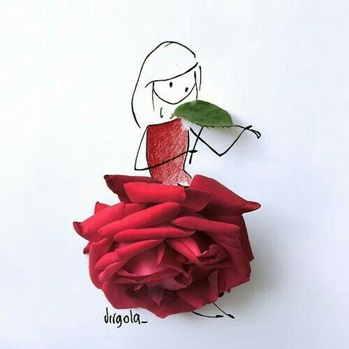 dress, red, and roses εικόνα