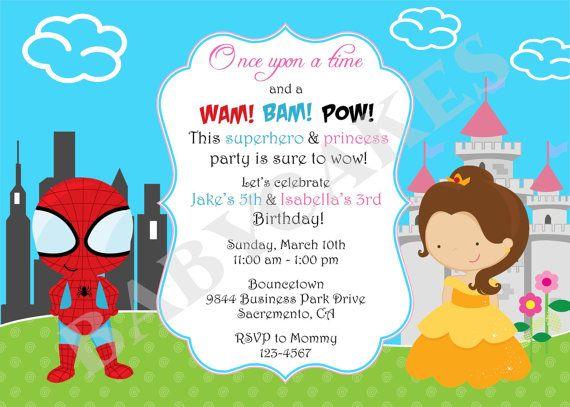 Superhero And Princess Invitation Sibling Birthday Etsy Superhero Party Invitations Princess Birthday Party Invitations Birthday Party Invitation Wording