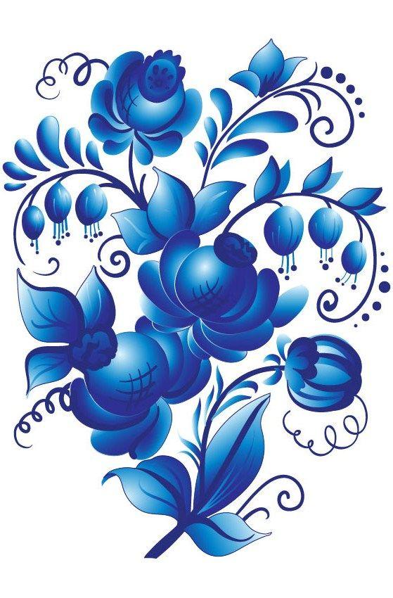 Folk Gzhel painting from Russia. Floral pattern. #folk #art #Russian #patterns #tolepainting