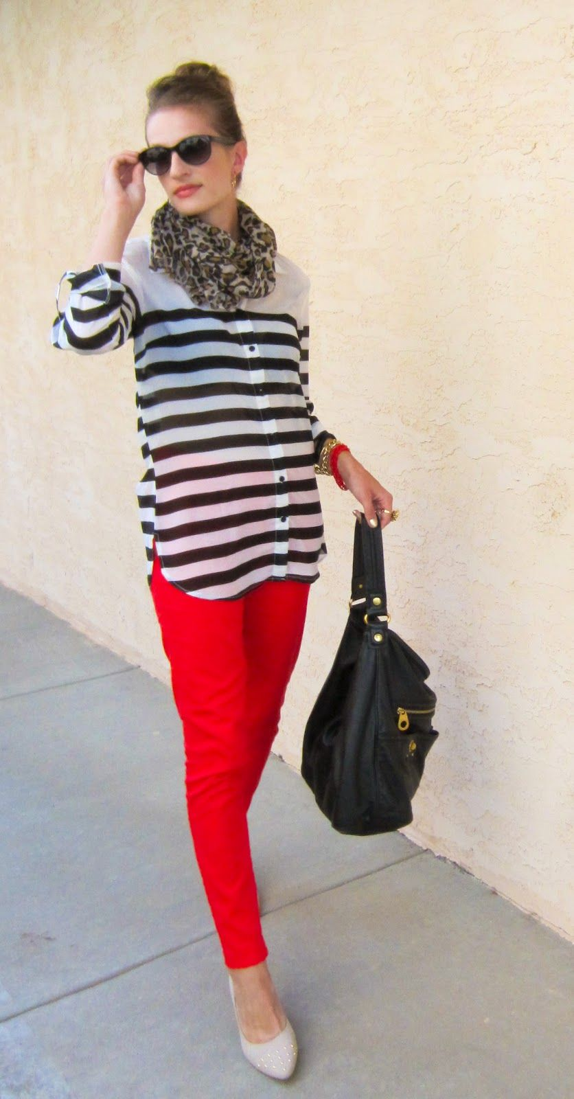 Inherited Jeans - stripes and leopard