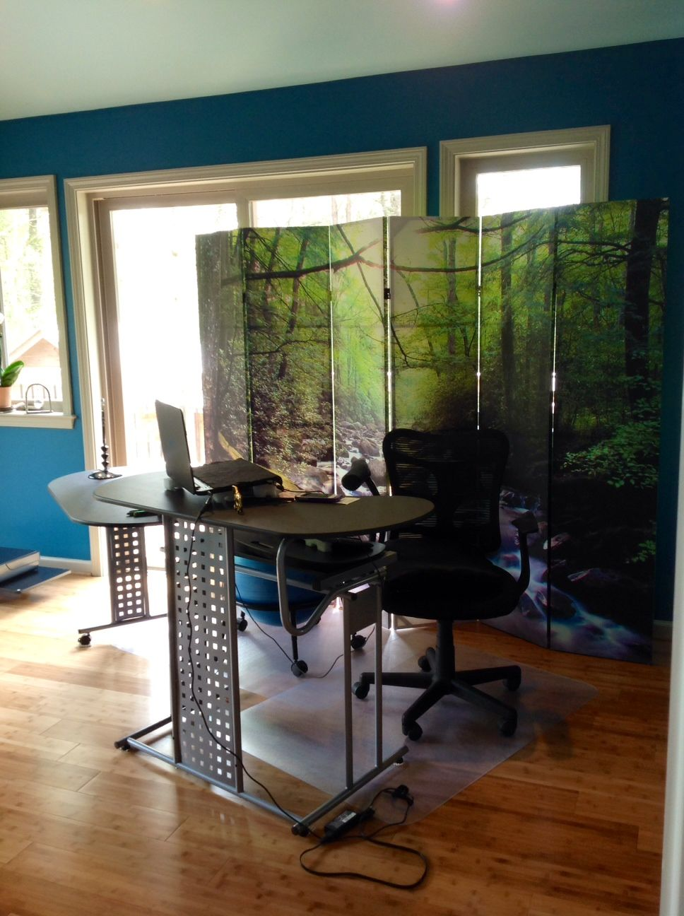 my home office on a budget wall color smoky blue by sherwin