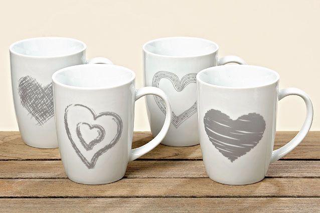 tassen 4er set kaffeebecher kaffeetasse becher teetasse mit herz