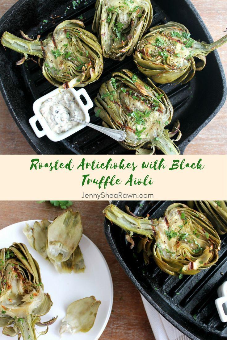 Roasted Artichokes with Black Truffle Aioli - Jenny Shea Rawn