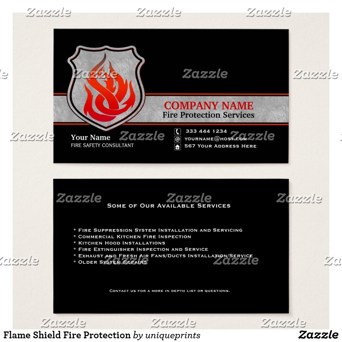 Flame Shield Fire Protection Business Card Zazzle Com In 2021 Fire Protection Custom Business Cards Fire Protection Services