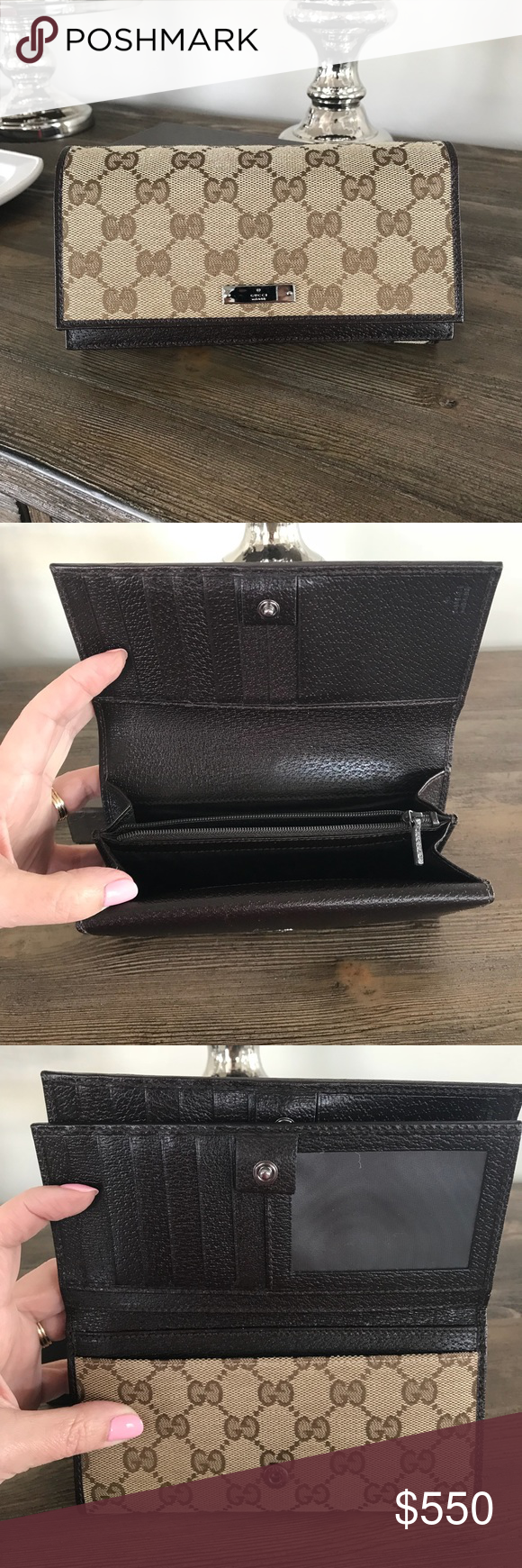 099d80ee2 GUCCI WALLET 🌺 Authentic Gucci Monogram Canvas and Leather Wallet Made in  Italy 15 Card slots Zip Coin Compartment 3 Bill Slots Comes with Box  Excellent ...