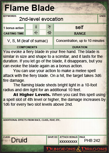 Re Skinned 4e Power Card D D Spelling Roleplaying Game