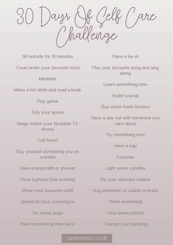 30 Tage Self Care Challenge –   – Inspo
