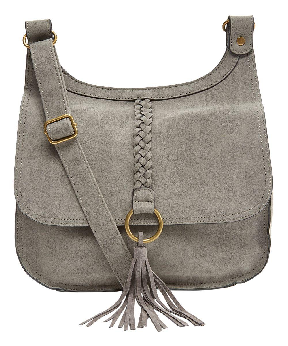 Gray Braided Tassel-Accent Crossbody Bag