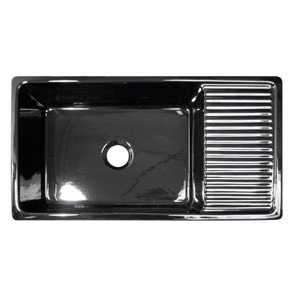 "Whitehaus Fireclay 36"" Single Bowl Farmhouse Apron Kitchen Sink - Black WHQD540 Create a breathtaking focal point in your kitchen with this elegantly crafted farmhouse fireclay apron kitchen sink. Whi"