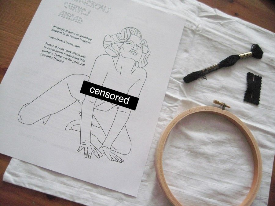 Naughty Embroidery Diy Kit Pin Up Girl Arched In Pleasure Hand