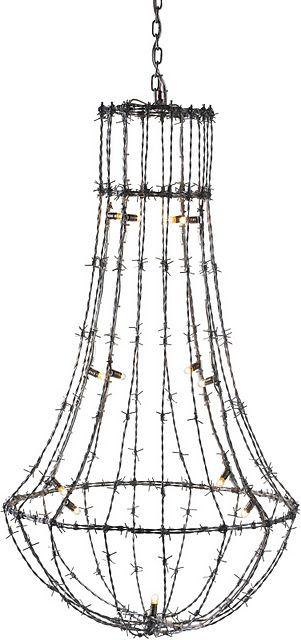 barbed wire  u0026quot chandelier u0026quot     so cool