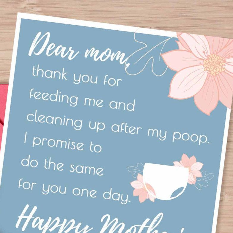 Funny Mother's day card, change my diaper, mother's day gift ...