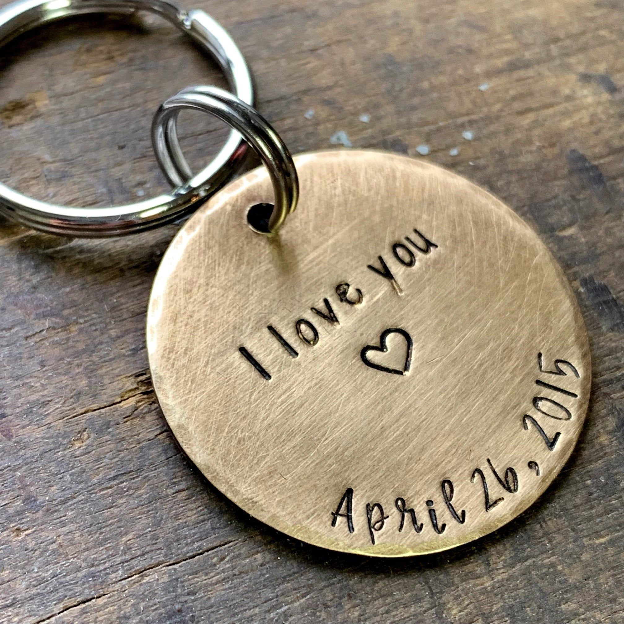 Anniversary gifts for him custom keychain personalized
