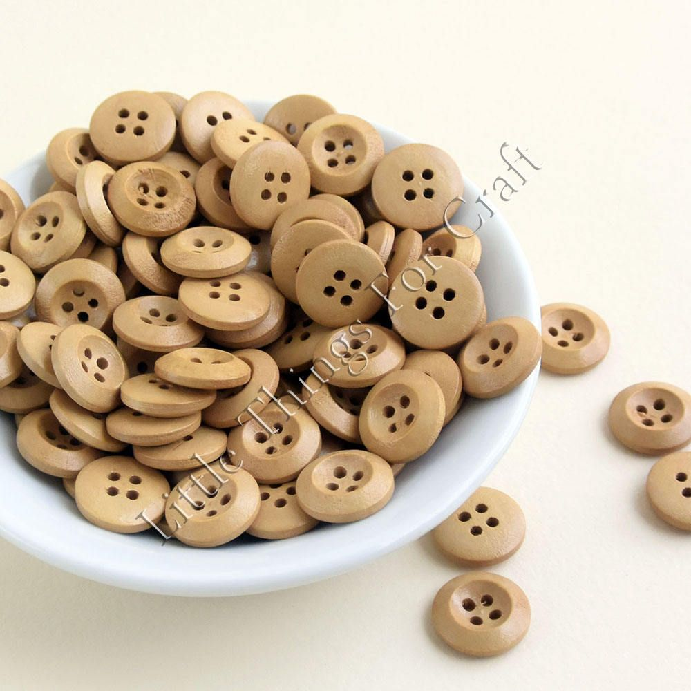 30 x Wooden 23mm Natural Buttons Large 4 Hole Round Shaped Buttons Sewing Craft