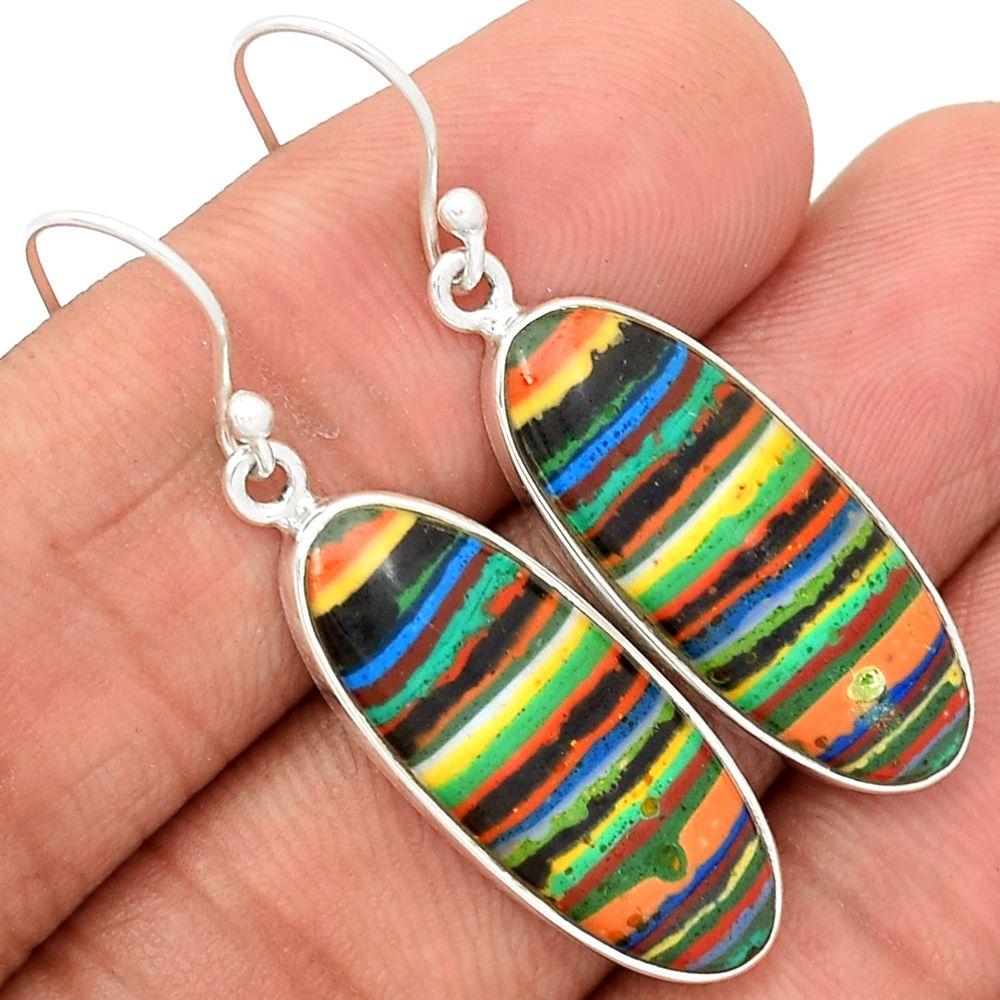 Rainbow Calsilica 925 Sterling Silver Earrings Jewelry RBCE527 - JJDesignerJewelry