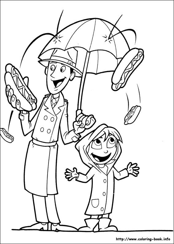 Cloudy with a chance of meatballs coloring picture | Handmade ...
