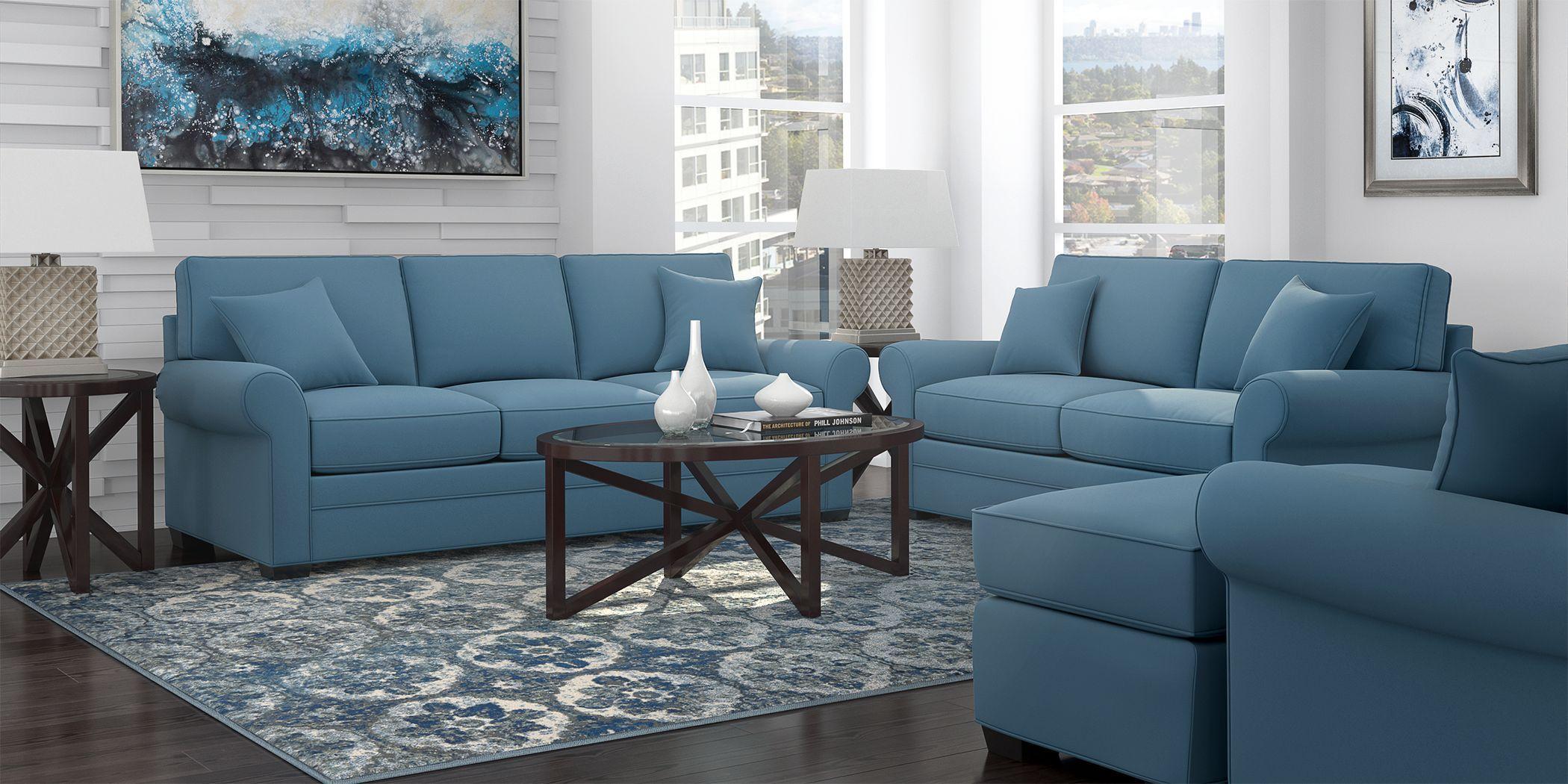 Cindy Crawford Home Bellingham Indigo Microfiber 7 Pc Living Room Teal Blue Living Room Decor Blue Living Room Decor Teal Blue Living Room