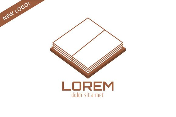 Open school book template logo icon by Vector-Stock on Creative Market