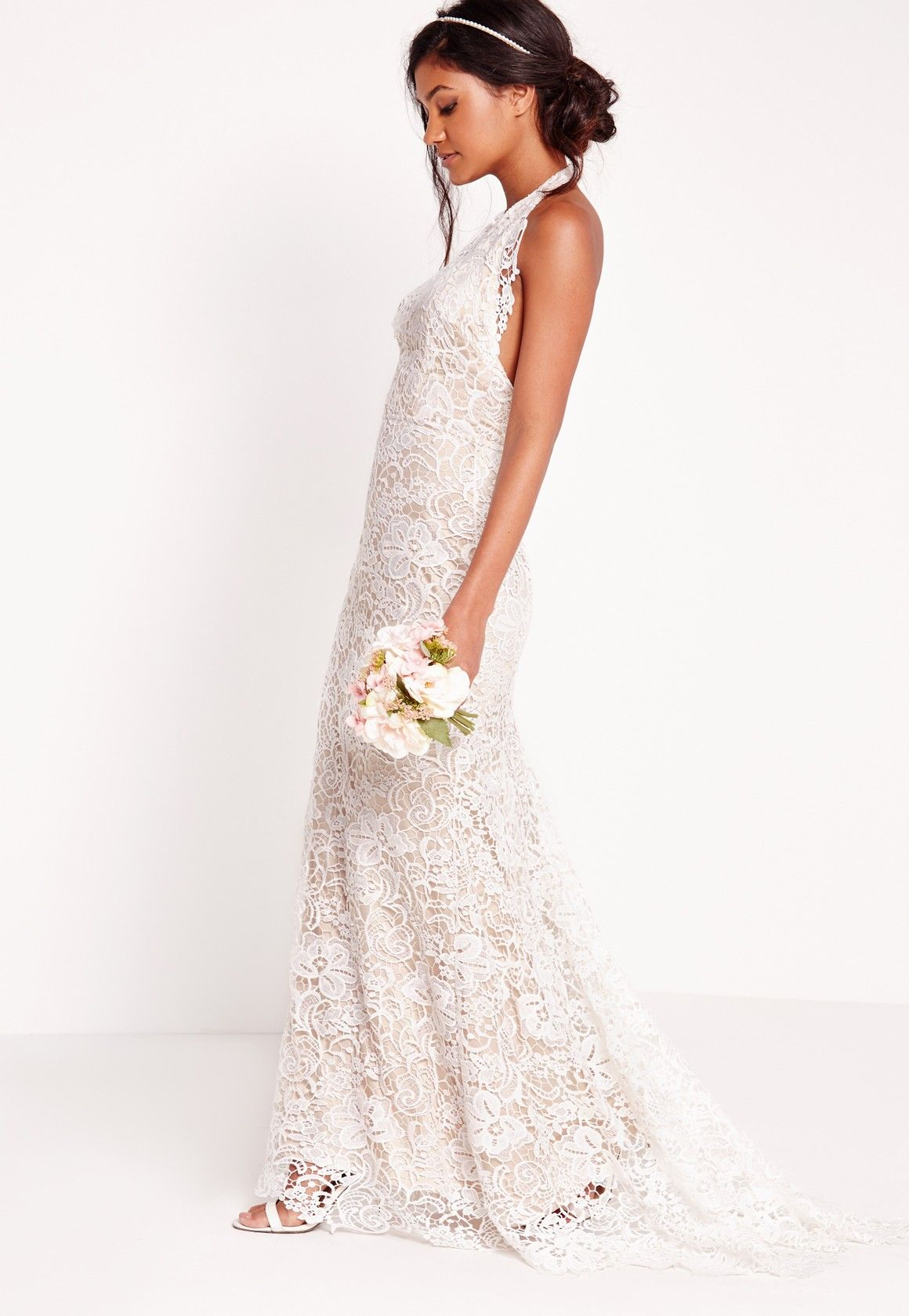 Missguided Bridal Halter Neck Lace Maxi Dress White
