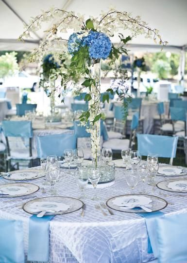 Gorgeous Blue And White Centerpiece From New Leaf Florist