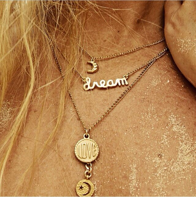 Mini Moon Necklace, Dream Necklace, and To the Moon Necklace by Long Lost Jewelry