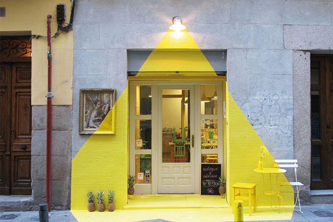 trompe-lu0027oeil, lumière, fos, jaune, devanture, madrid, installation - Oeil Pour Porte D Entree