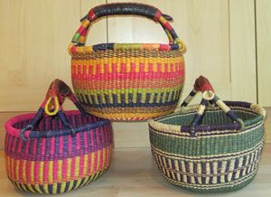 Small baskets are great to have around the house. In the bathroom they can hold pretty soaps and facecloths, bigger ones can hold loo rolls! In the kitchen small ones can hold eggs and large ones vegetables. There's just no end to how you can use these fabulous baskets. the good thing is they last for ever. Get them wet and they can be re-shaped.