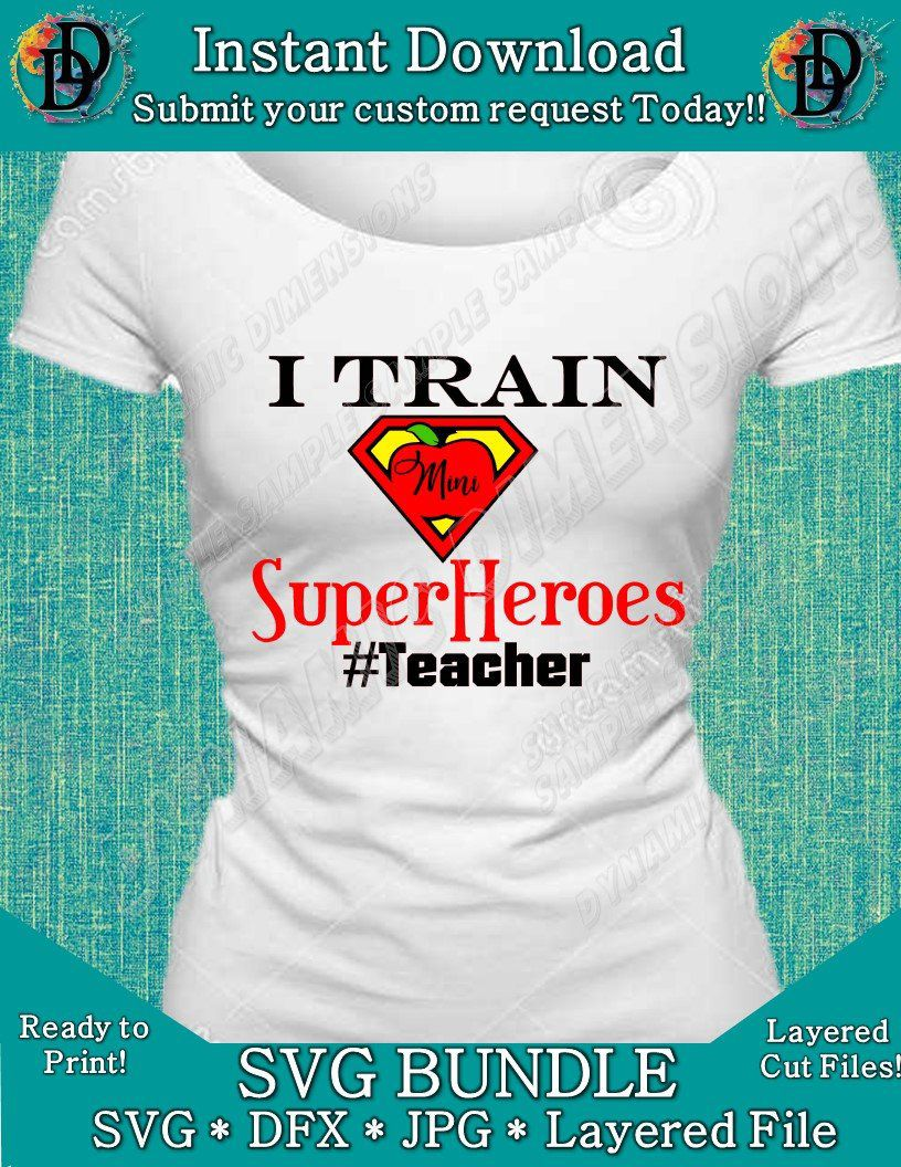 2ecd1d0b ... my #etsy shop: I train Mini Superheros #Teacher SVG Bundle, Teacher svg,  School SVG, back to school, Teacher cut file, DXF, , silhouette, cricut  Image