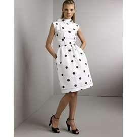 Oscar De La A Dotted Silk Dress Designer