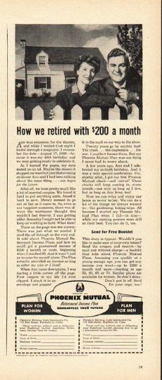 1948 Phoenix Mutual Life Insurance Vintage Ad How We Retired