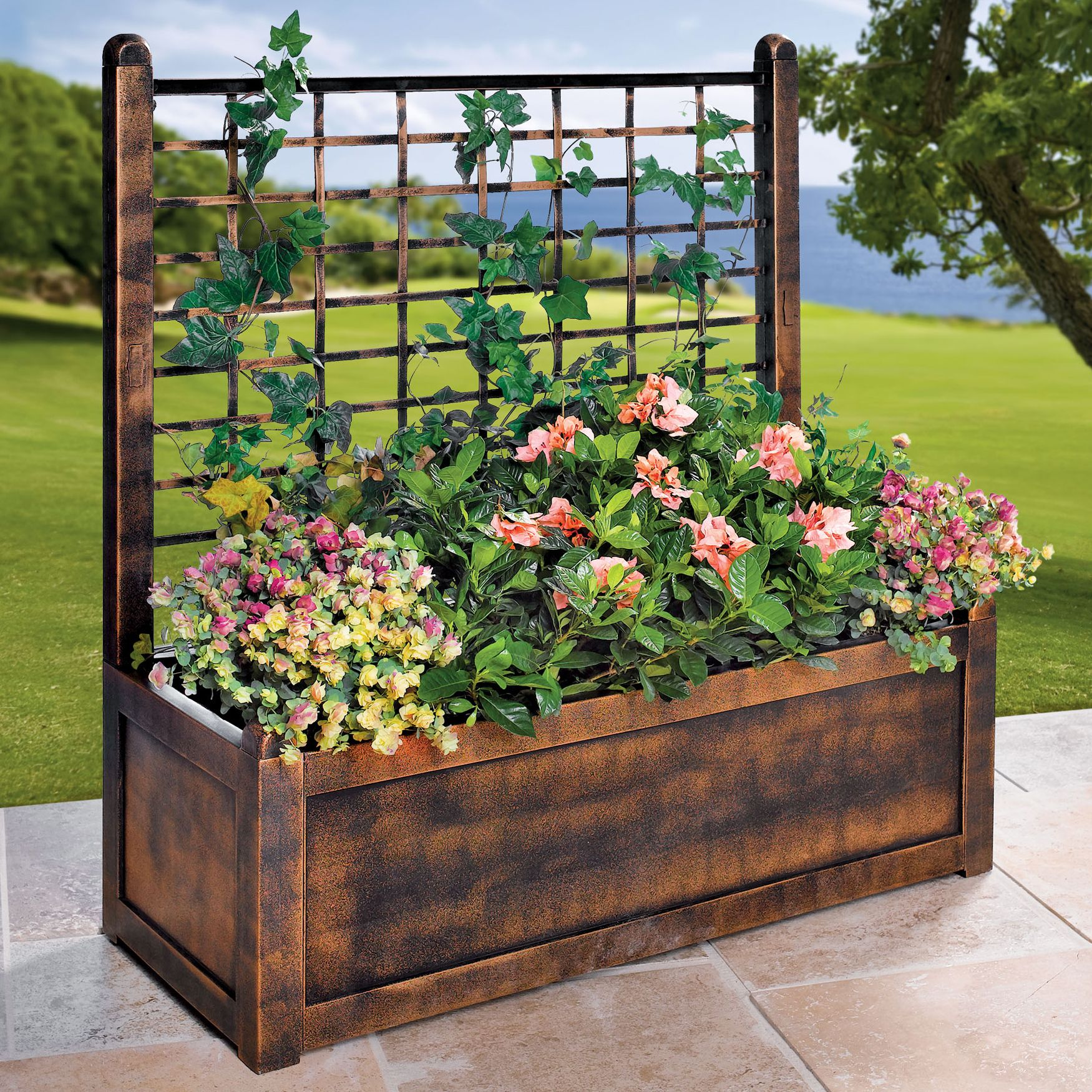 Flower Box With Trellis Planter Box With Trellis Garden Boxes Outdoor Planter Boxes