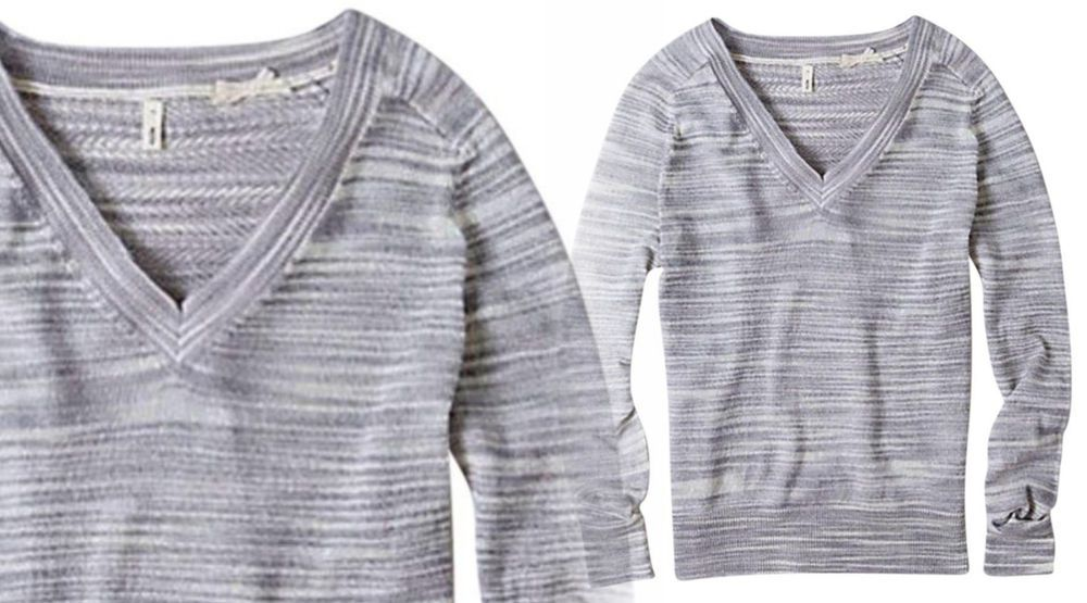 21e778faf7341a Anthropologie V Neck Spacedye Pullover Large Petite 10 12 Grey Open Knit  Back PL  Moth  Pullover  Casual