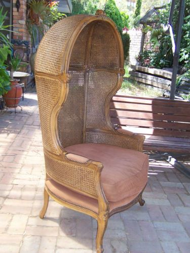 French Vintage Porteru0027S Cane Rattan Hood OR Canopy ARM Chair Perfect  Conditio In Greensborough, VIC