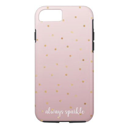 Blush Rose Pink Ombre Gold Confetti Sparkle iPhone 8/7 Case Gold - confeti