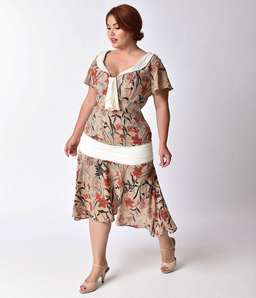 Unique Vintage Plus Size 1920s Style Beige Basket Weave Floral Print Wilshire Flapper Day Dress Affordable Dresses Casual Retro Inspired Dress Casual Dresses [ 1023 x 879 Pixel ]