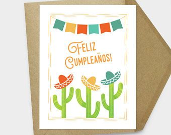 Feliz Cumpleanos Card Spanish Birthday Mexican Cactus Printable