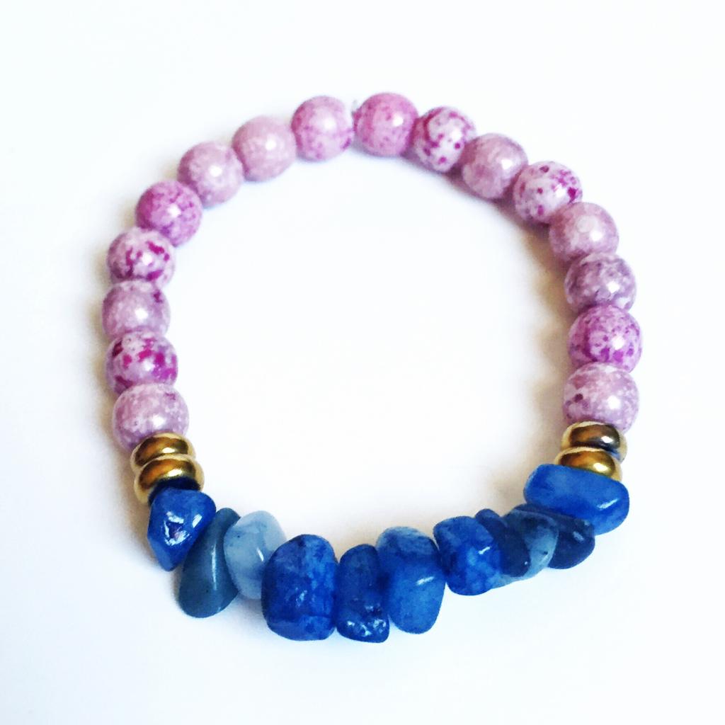 Blue and Amethyst Luster Bracelet