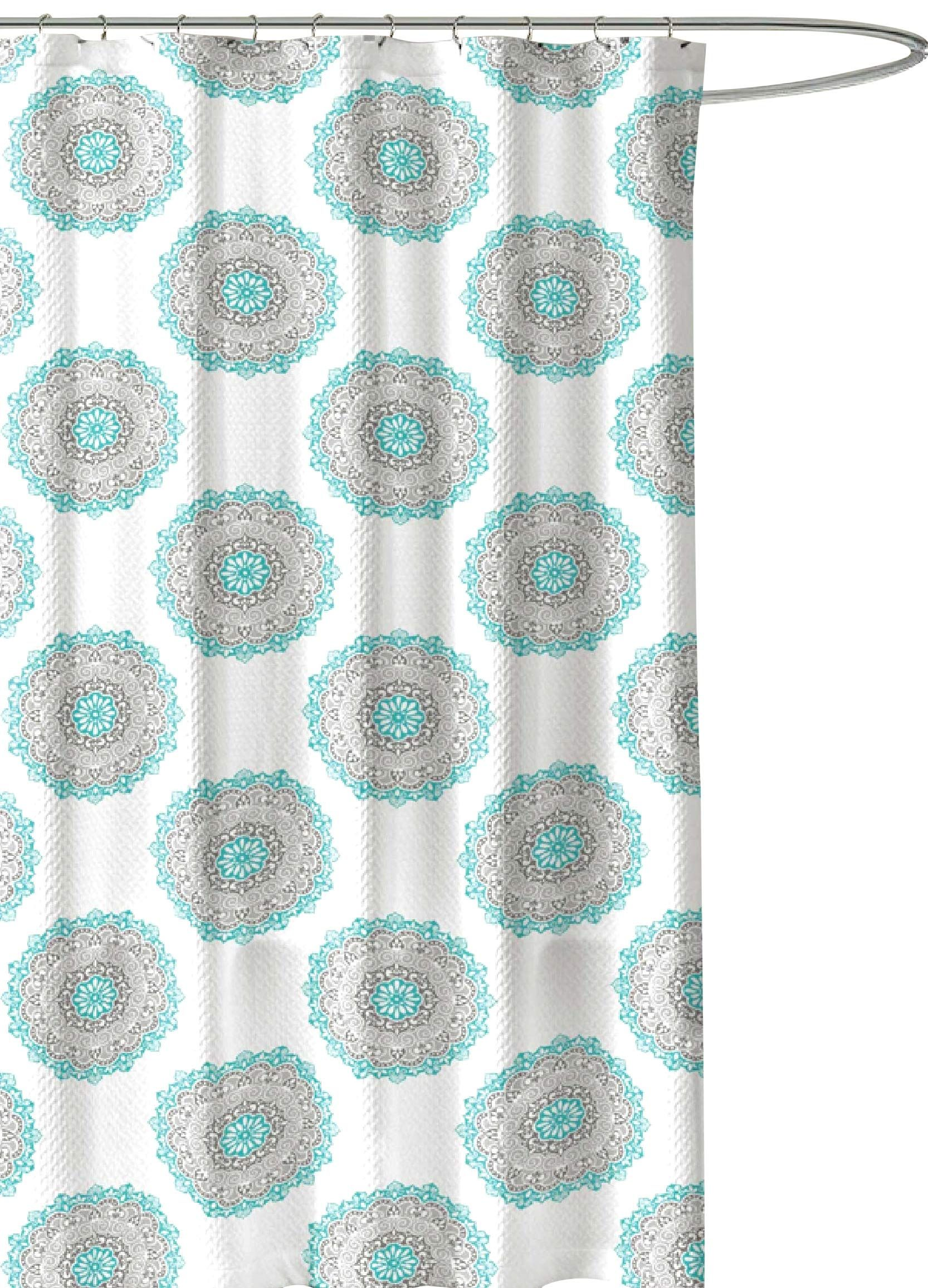 Turquoise Green Grey Fabric Shower Curtain Ornate Mandala Circle Design
